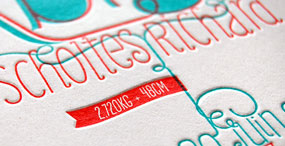 Letterpress birth announcement