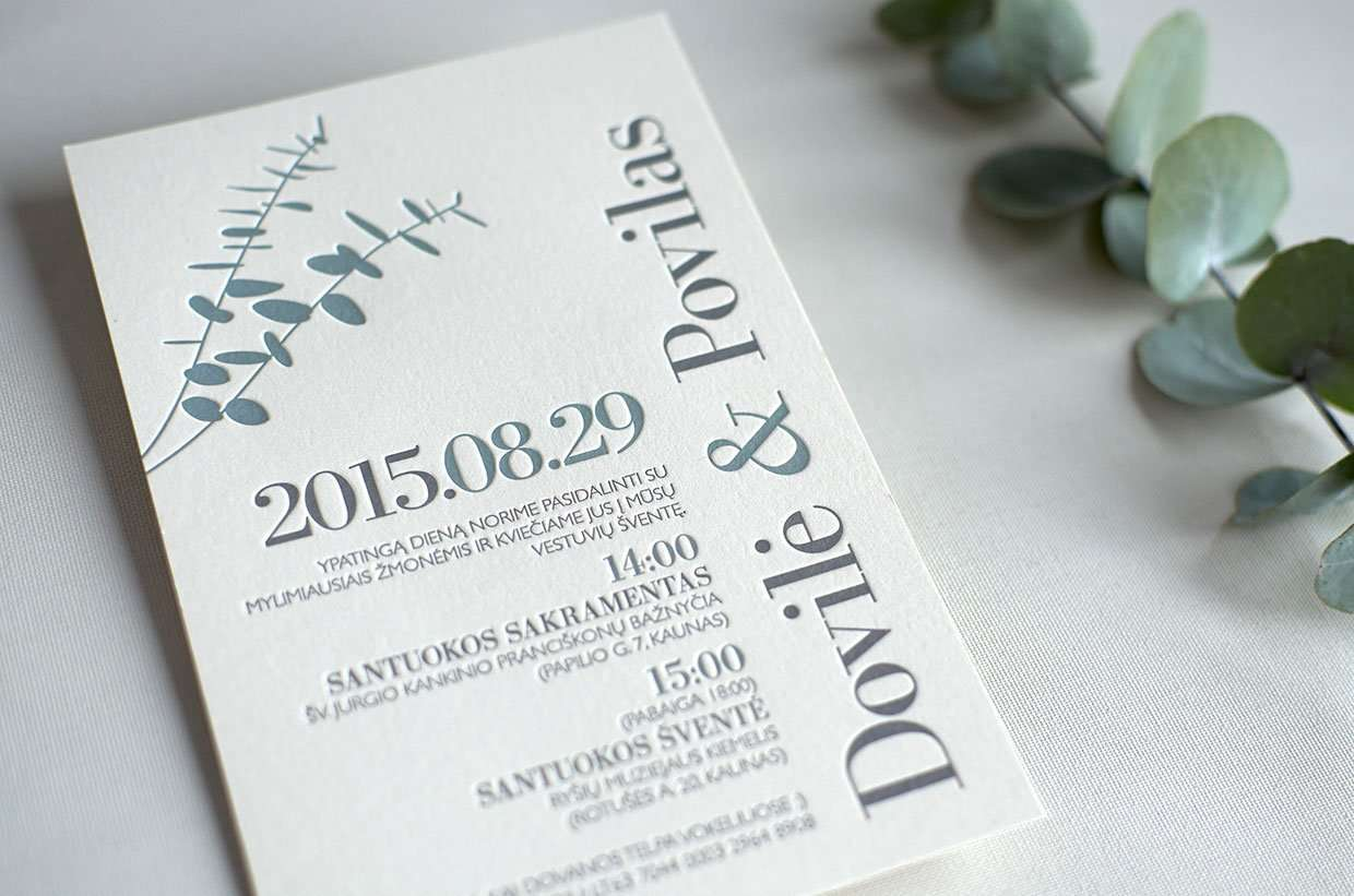 Eucalyptus wedding invitation | ELEGANTE PRESS | Professional Letterpress Printing Studio