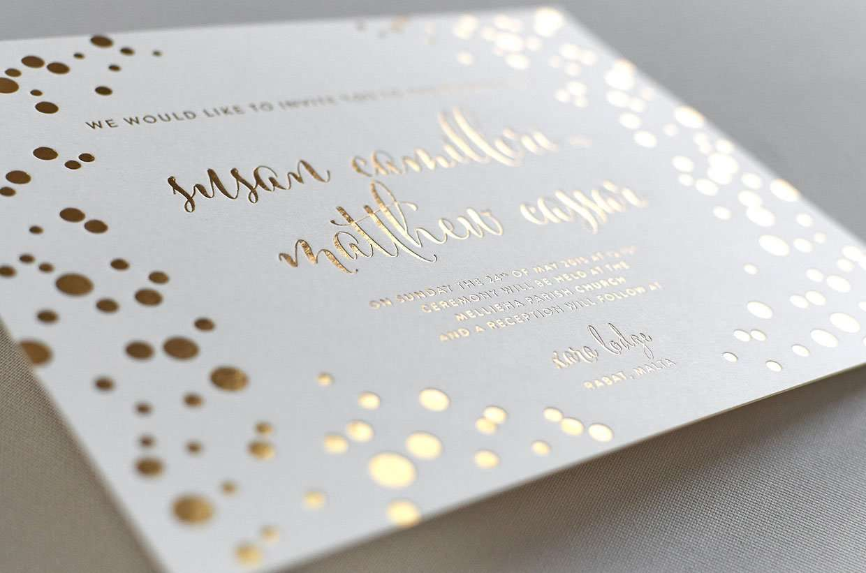 gold foil wedding invitation  elegante press  professional, invitation samples