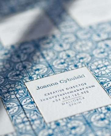 Mallorca Inspired Letterpress Business Card
