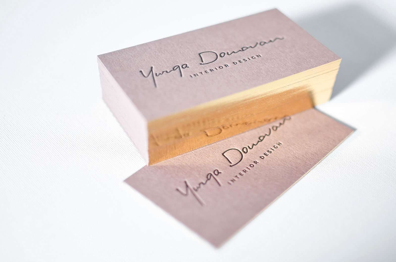 Brown Business Cards With Single Gilded Edges Elegante