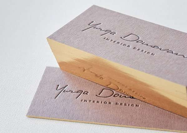 Brown business cards with single gilded edges elegante press design letterpress printing for Business name for interior design company