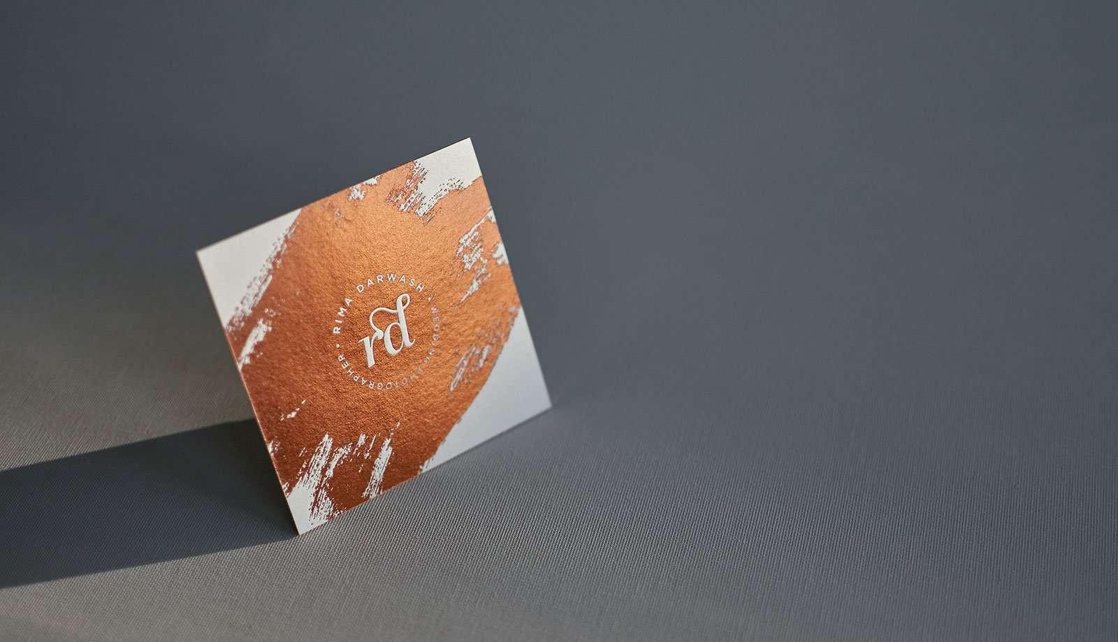 Copper foiled square letterpress business cards elegante press copper foiled square business card online 1 magicingreecefo Image collections