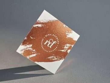 Copper Foiled Square Business Card