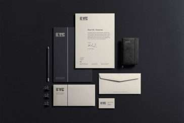 KTG Corporate Identity Design & Letterpress Business Cards Mockup