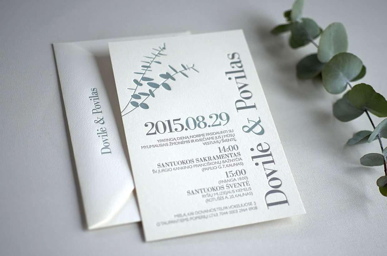 Eucalyptus Letterpress Wedding Invitations Elegante